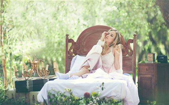 Wallpaper White dress girl sitting bed, outside, nature