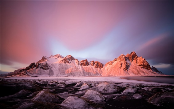 Fond d'écran Hiver, lac, neige, pierres, montagnes, lueur