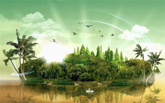Fond d'écran images 3D créatives, île, des palmiers, des cygnes, des oiseaux