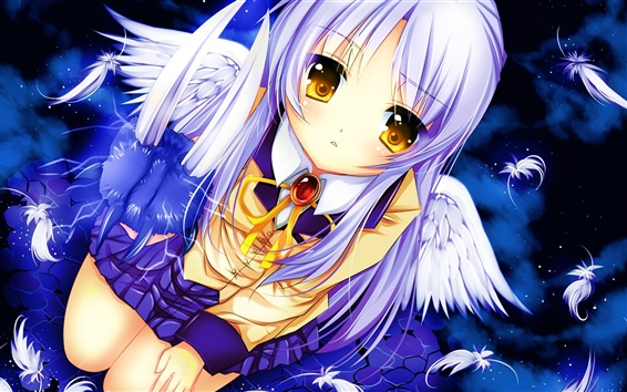 Wallpaper Angel Beats, Tachibana Kanade, white hair anime girl, wings, schoolgirl