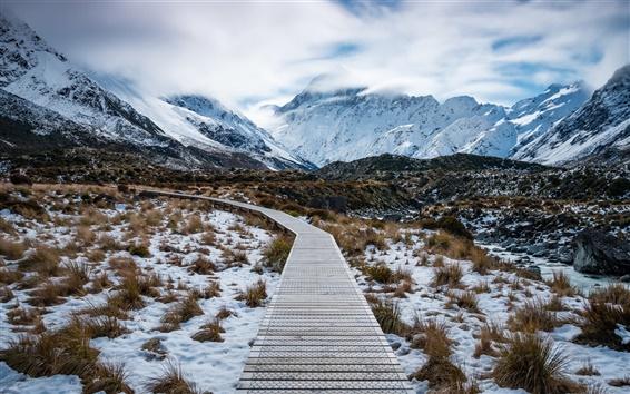 Wallpaper Aoraki Mount Cook National Park, New Zealand, mountains, snow, path