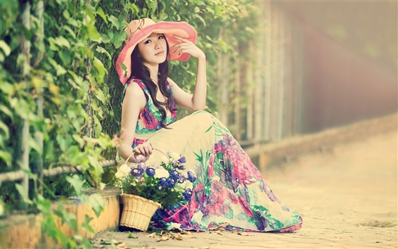 Wallpaper Asian girl, hat, beautiful dress, street, summer
