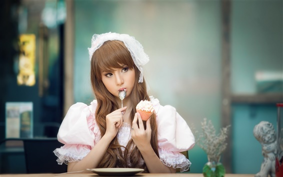 Wallpaper Beautiful Asian girl eating cake, lovely dress
