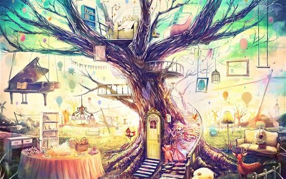 Papéis de Parede pintura de arte bonita, mundo mágico, casa fantasia, árvore, brinquedos, sofá