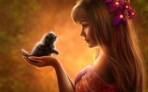 Wallpaper Beautiful fantasy girl with kitten