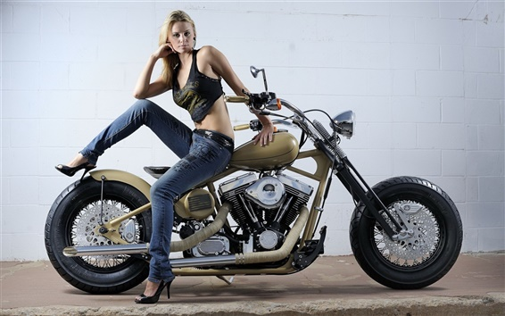 Wallpaper Beautiful girl and motorcycle