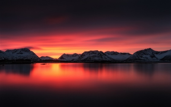 Wallpaper Beautiful sunset landscape, lake, red sky, mountains, snow