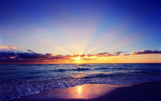 Wallpaper Beautiful sunset, sun, sea, waves, beach, clouds