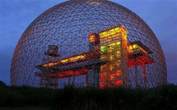 Wallpaper Biosphere Museum, night, lighting, North America