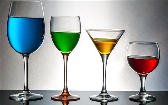 Fondos de pantalla Azul, verde, amarillo, rojo, copas de vidrio, bebidas