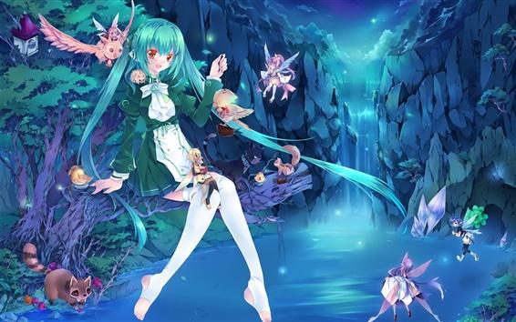 Fond d'écran Blue hair anime girl, fées, chute d'eau, la lumière, la fantaisie