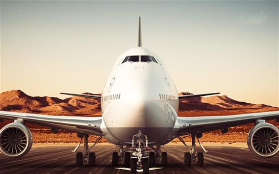 Wallpaper Boeing 747-8 airliner, Lufthansa, airport