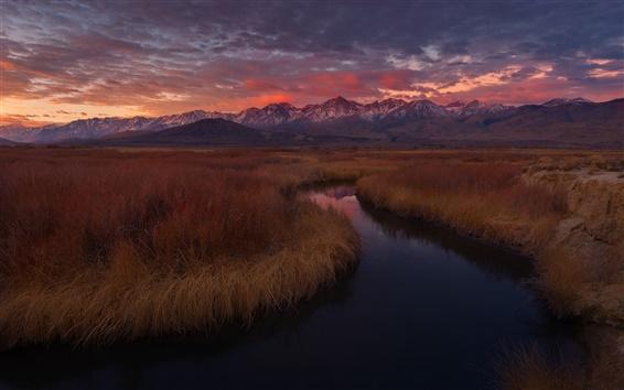 Fondos de pantalla California, EE.UU., río Owens, hierba, montañas, puesta del sol