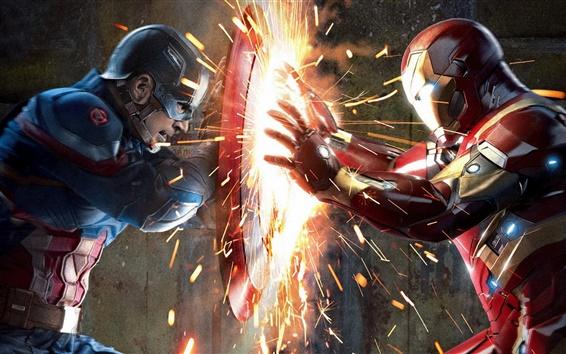 Wallpaper Captain America: Civil War, fierce duel