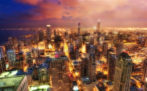 Fond d'écran Chicago, Illinois, États-Unis, belle nuit de la ville, gratte-ciel, lumières