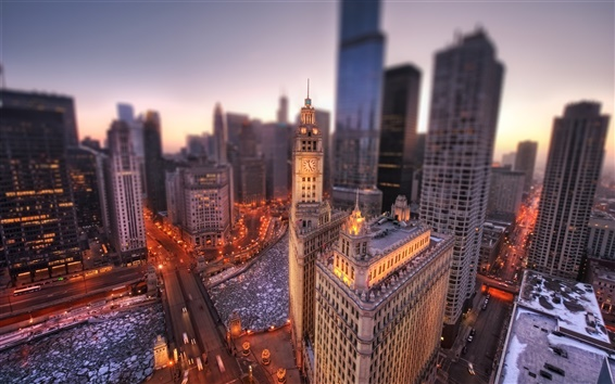 Wallpaper Chicago city at dawn, Illinois, USA, Chicago, winter, buildings, lights, height