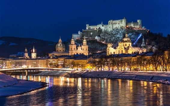 Wallpaper City night, Salzburg, Austria, river, winter, snow, houses, lights