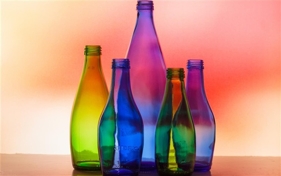 Wallpaper Colorful glass bottles, light, colors