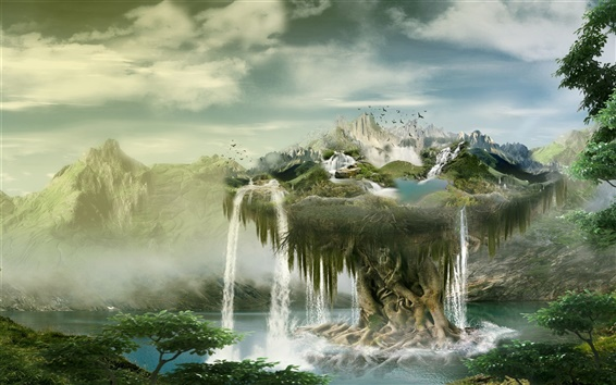 Wallpaper Creative design, float island, waterfalls, birds, clouds, mountains