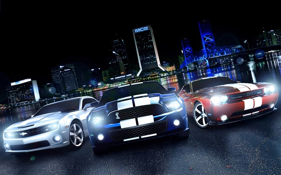 Обои Dodge Challenger, Ford Mustang, Chevrolet Camaro, вид спереди, ночь, огни
