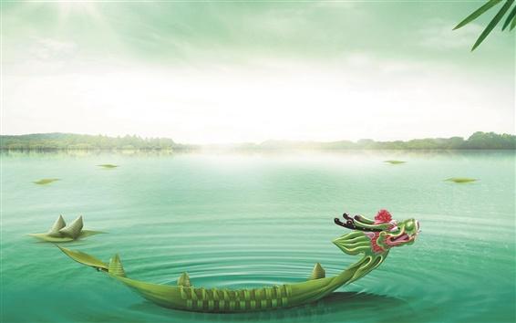 Fond d'écran Dragon Boat Festival, Dragon Boat, Lac, Zongzi