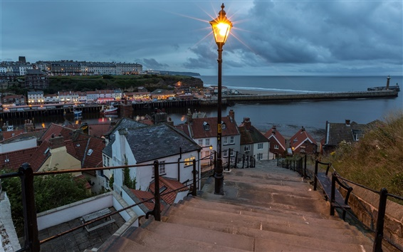 Wallpaper England, Whitby, coast, sea, lamp, stairs, houses, clouds, night