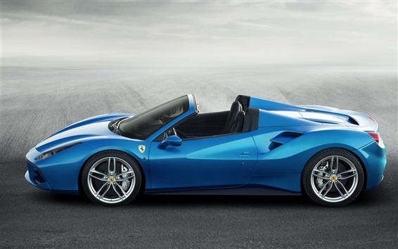Wallpaper Ferrari 488 Spider blue supercar side view