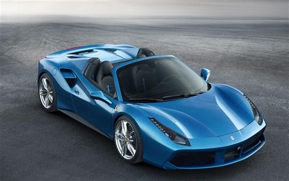 Wallpaper Ferrari 488 Spider blue supercar