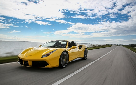 Wallpaper Ferrari 488 Spider yellow convertible supercar speed