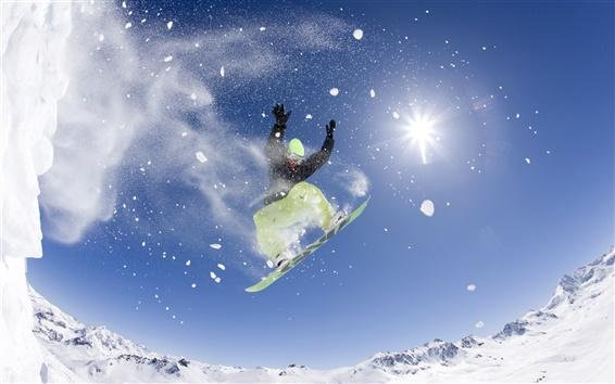 Papéis de Parede dança livre no céu, snowboard, sol, neve