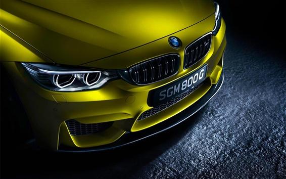 Wallpaper German BMW M4 yellow car front view
