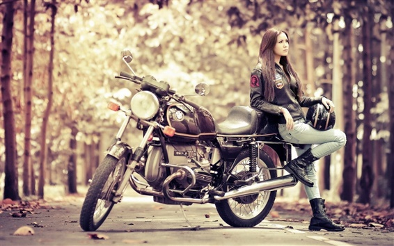 Wallpaper Girl with motorcycle BMW R100S