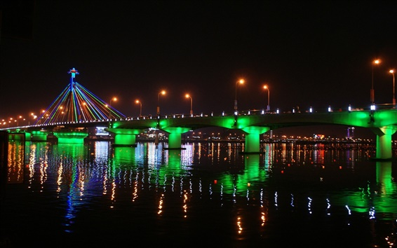 Wallpaper Han River, Korea, bridge, beautiful illumination, night, water reflection