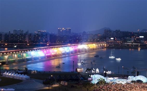 Fondos de pantalla Han río, puente, iluminación de arco iris, noche, Seúl, Corea del Sur
