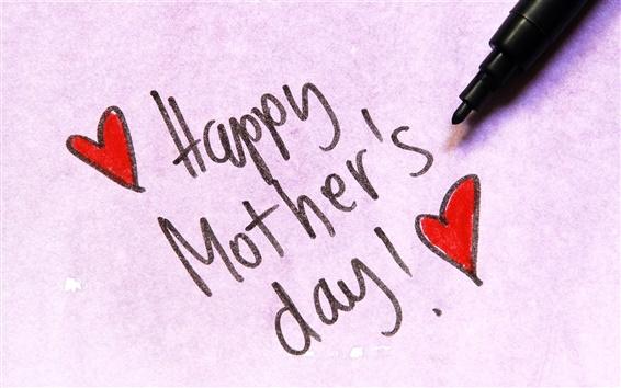 Wallpaper Happy Mother's Day, pen, love hearts