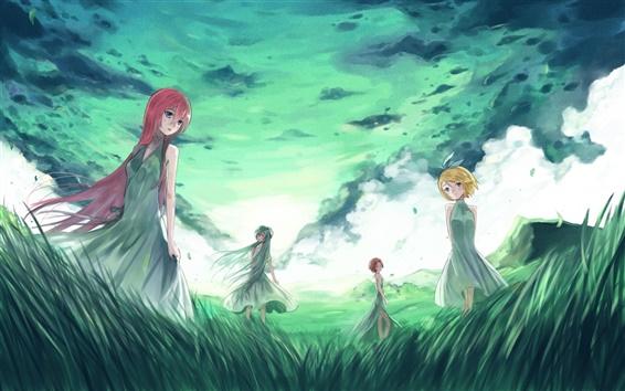 Papéis de Parede Hatsune Miku, anime, quatro meninas, grama, nuvens