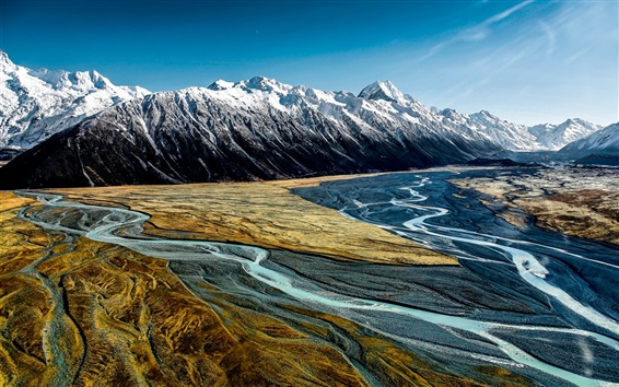 Fondos de pantalla Valle de la puta, Aoraki Mount Cook, Nueva Zelanda, montañas, río