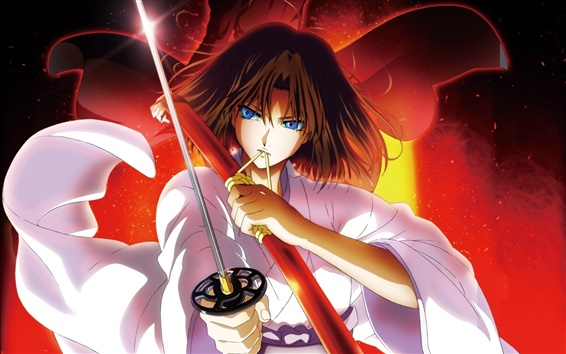 Wallpaper Kara no Kyoukai, sword, blue eyes