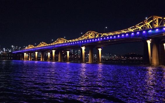 Fond d'écran La Corée, la rivière Han, pont, éclairage bleu, nuit
