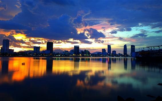 Fondos de pantalla Corea, Seúl, Ciudad, Río Han, noche, edificios, luces