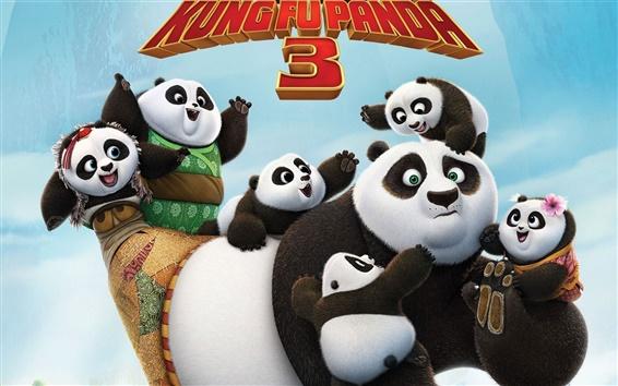 Wallpaper Kung Fu Panda 3, Po and cute panda cubs