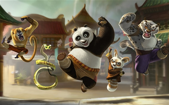 Fondos de pantalla Kung Fu Panda 3, salida feliz