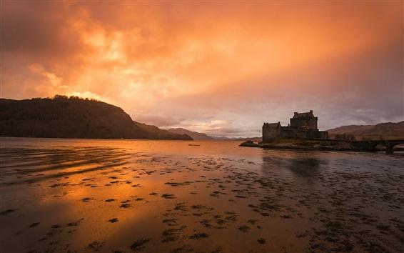 Fondos de pantalla Kyle of Lochalsh, Escocia, río, puesta del sol, casas