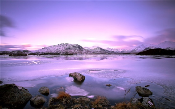 Wallpaper Lake, mountains, stones, snow, winter, sky, clouds