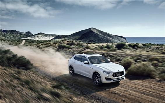 Wallpaper Maserati Levante white car in high speed