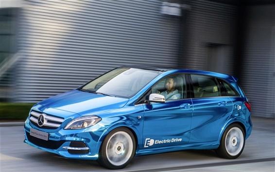 Wallpaper Mercedes-Benz B-class Electric Drive blue car speed