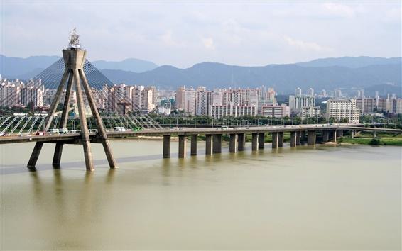 Wallpaper Olympic Bridge, Hangang river, city, houses, Seoul, Korea
