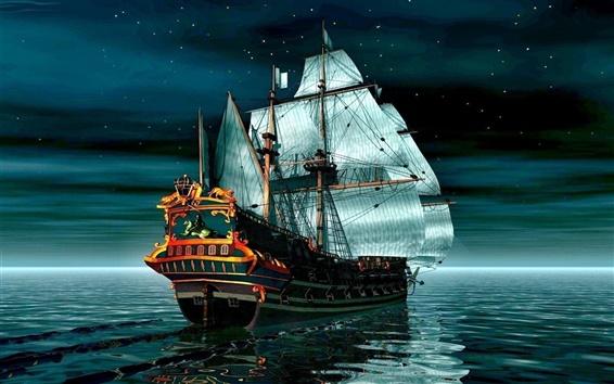 壁紙 穏やかな海での海賊船
