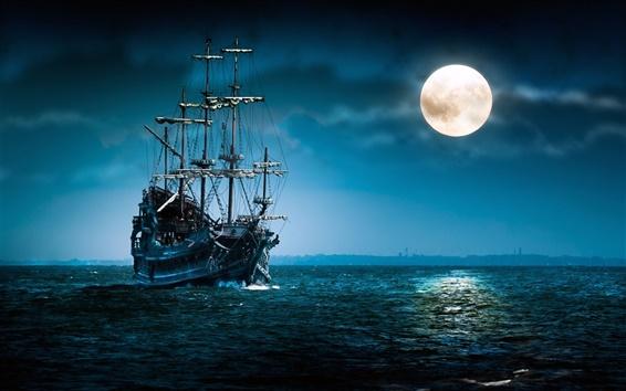 Wallpaper Pirate ship sailing under the moonlight