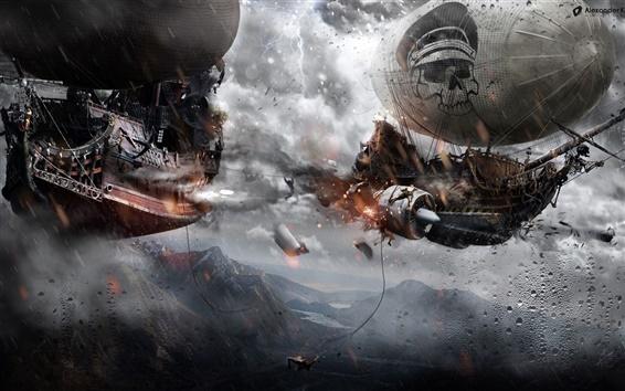 Wallpaper Pirate ships fly in the sky, rain, war